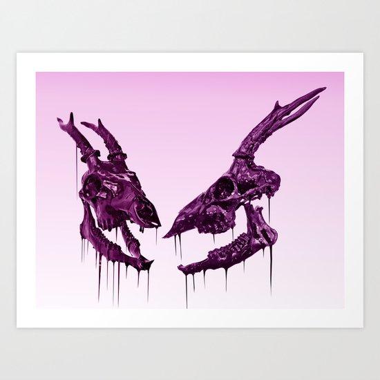 """Painted Skull """"Deer"""" Purple Art Print"""