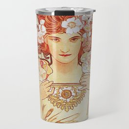 Rose by Alphonse Mucha 1897 // Vintage Girl with Red Hair Floral Love Design Travel Mug