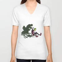 teen titans V-neck T-shirts featuring Teen Titans: Beast Boy by JaDis