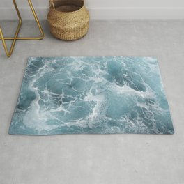 White water waves Rug