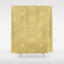 Rings of Flowers - Color: Naples Ochre Shower Curtain
