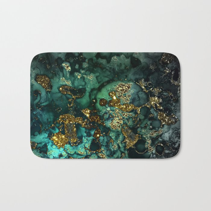 Gold Indigo Malachite Marble Badematte
