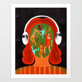 """""""When You Listen to Music, You're Never Alone"""" by Ellen Weinstein for Nautilus Art Print"""