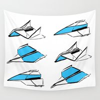 planes Wall Tapestries featuring Paper Planes: Blue by Katy Shorttle