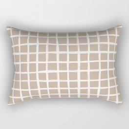 Strokes Grid - Off White on Nude Rectangular Pillow