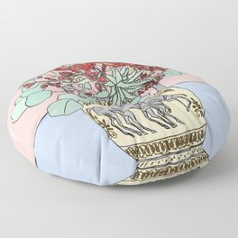 Greek Urn with Horses and Protea Bouquet Floor Pillow