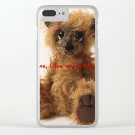 Brown teddy bear Quote Clear iPhone Case