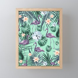 Tropical Flamingo Flower Jungle #5 #tropical #decor #art #society6 Framed Mini Art Print