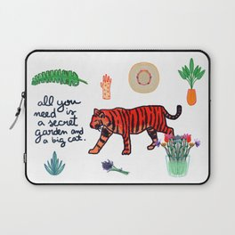 all you need is a secret garden and a big cat Laptop Sleeve