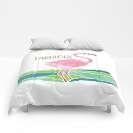Sparkly Fabulous Watercolor Pink Flamingo Comforters