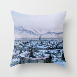 Icy Mountains in Reykjavik Throw Pillow