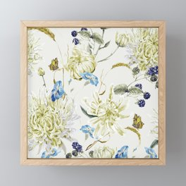 Antique White Flower Pattern with Blue Accents Framed Mini Art Print
