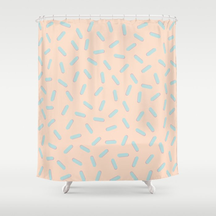Memphis Bacteria Pattern Pastel Colors Peach Baby Blue Shower Curtain