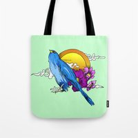 pigeon Tote Bags featuring Pigeon by happytunacreative