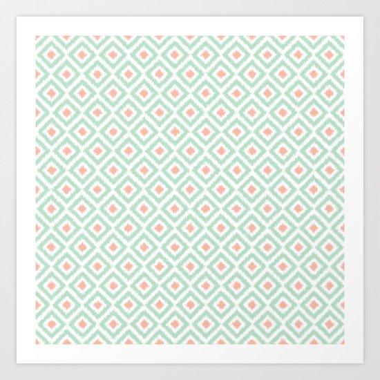 Mint and Coral Diamonds Ikat Pattern Art Print