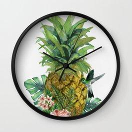 Tropical Pineapple Wall Clock