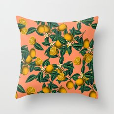 Lemon and Leaf Throw Pillow