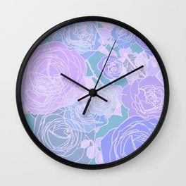 Preppy Purple and Seafoam Green Abstract Contemporary Romantic Roses Wall Clock