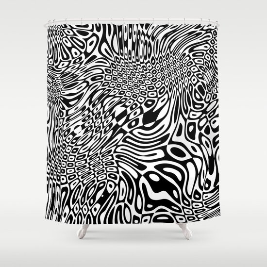 Black and white psychedelic optical illusion Shower Curtain