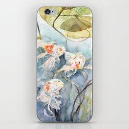 Koi Fish Painting, Underwater Water Lily iPhone Skin