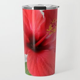 A Stunning Scarlet Hibiscus Tropical Flower Travel Mug