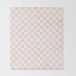 Pink Coral Checkers Throw Blanket