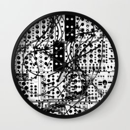 analog synthesizer system - modular black and white Wall Clock
