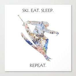 SKI. EAT. SLEEP. REPEAT. Canvas Print