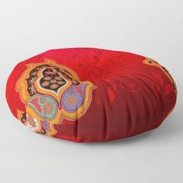 red jewel paisley border Floor Pillow