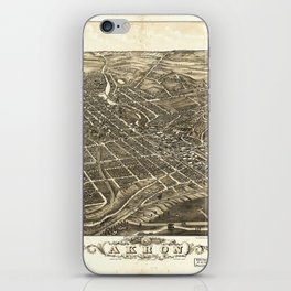 Aerial View of Akron, Ohio (1882) iPhone Skin