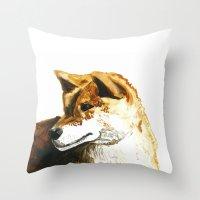 shiba inu Throw Pillows featuring Shiba Inu by Naomi Bardoff