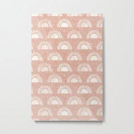 block print suns on dusty pink Metal Print