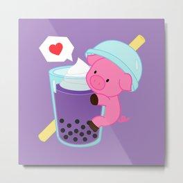 Pig with Purple Bubble Tea Metal Print