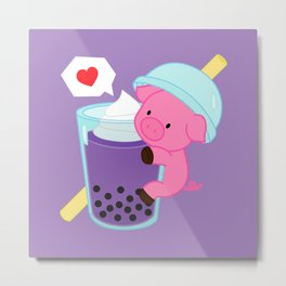 Pig with Purple Bubble Tea Metal Print