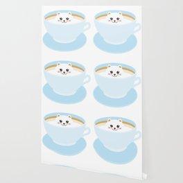 Cute Kawai cat in blue cup Wallpaper