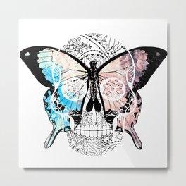 Van Goer Butterfly on Skull Metal Print