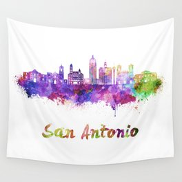 San Antonio skyline in watercolor Wall Tapestry