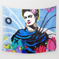 frida kahlo Wall Tapestries featuring Frida Kahlo by Paola Gonzalez
