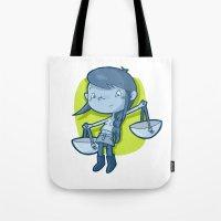 libra Tote Bags featuring Libra by Chiara Zava