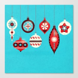 Retro Christmas Baubles Canvas Print