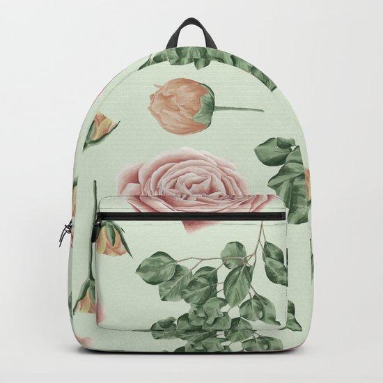 Rose Garden Delight Mint Green + Pink Backpack