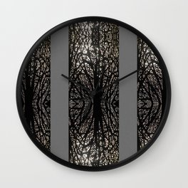 Gothic tree striped pattern grey Wall Clock