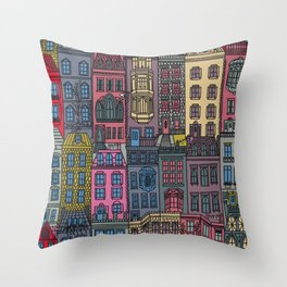 New York Brownstones Multicolor Throw Pillow