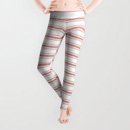 Large Camellia Pink and White Mattress Ticking Stripes Leggings