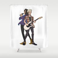 niall Shower Curtains featuring iHeart Harry and Niall by Ashley R. Guillory