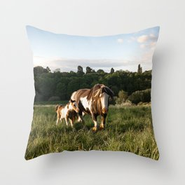 Horse and Pony Throw Pillow