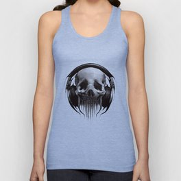 Alien Skull Listening to Music on Pro Beats Unisex Tank Top