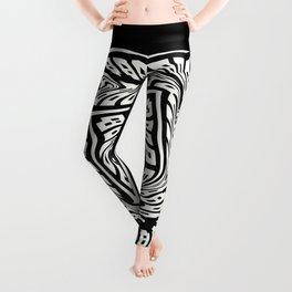 WARPED black and white warped concentric design Leggings