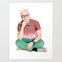 tyler oakley Art Prints featuring Tyler Oakley by mikhela