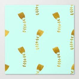 Mint Gold Foil 03 Canvas Print